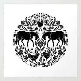 Modern Folk Art Horses Illustration with Chickens and Botanicals Art Print