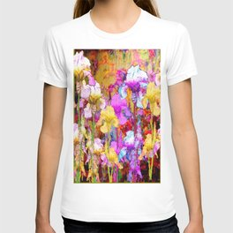 MIXED IRIS FLORAL AVOCADO ART DESIGN T-shirt