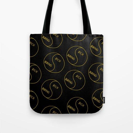 Rich / Boring (Black) Tote Bag