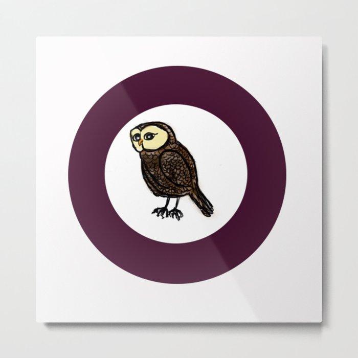 Owl in Purple Circle  Metal Print