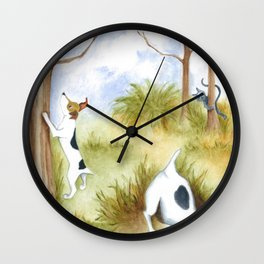 Busy Dogs Original art dog painting with cat and owl  Wall Clock