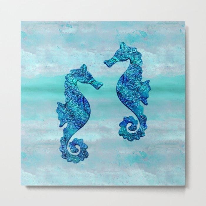 Blue Seahorse Couple Underwater Metal Print