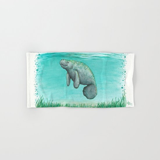 Mossy Manatee ~ Watercolor Hand & Bath Towel
