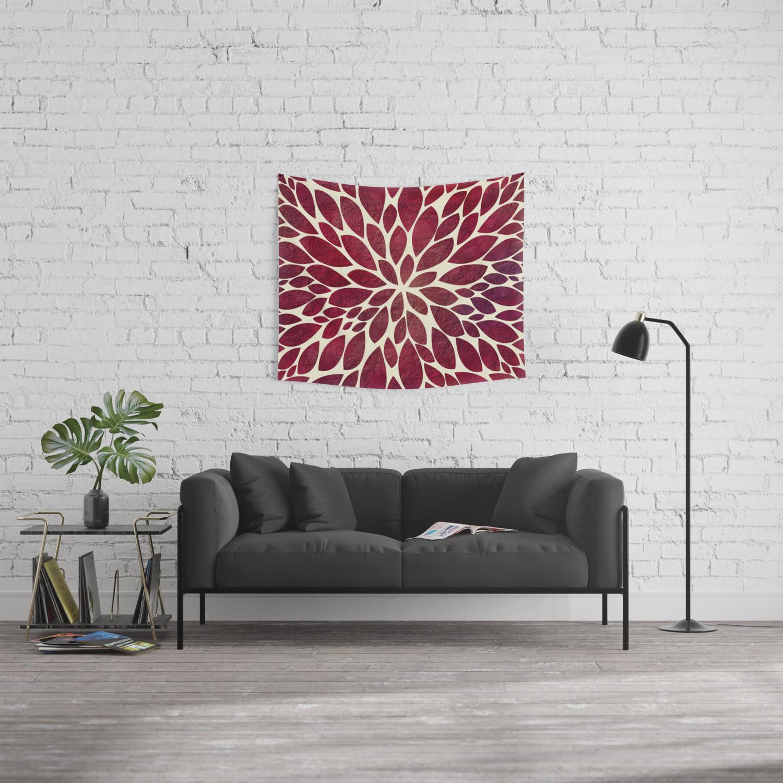 Petal Burst Maroon Wall Tapestry