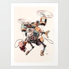 Aerobatic Support Piggie Copter Art Print
