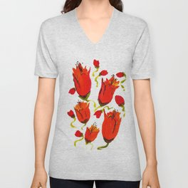 Orange n Red closed flowers Unisex V-Neck