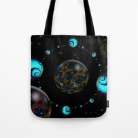 starry night Tote Bags featuring Starry Starry Night by inkedsandra