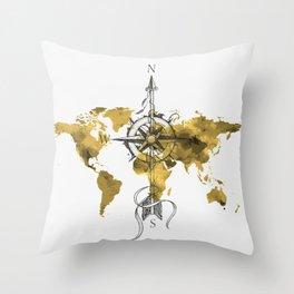 Gold World Map 2 Throw Pillow