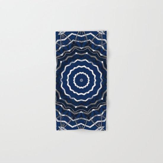 Blue stripes on white grunge textured kaleidoscope Hand & Bath Towel