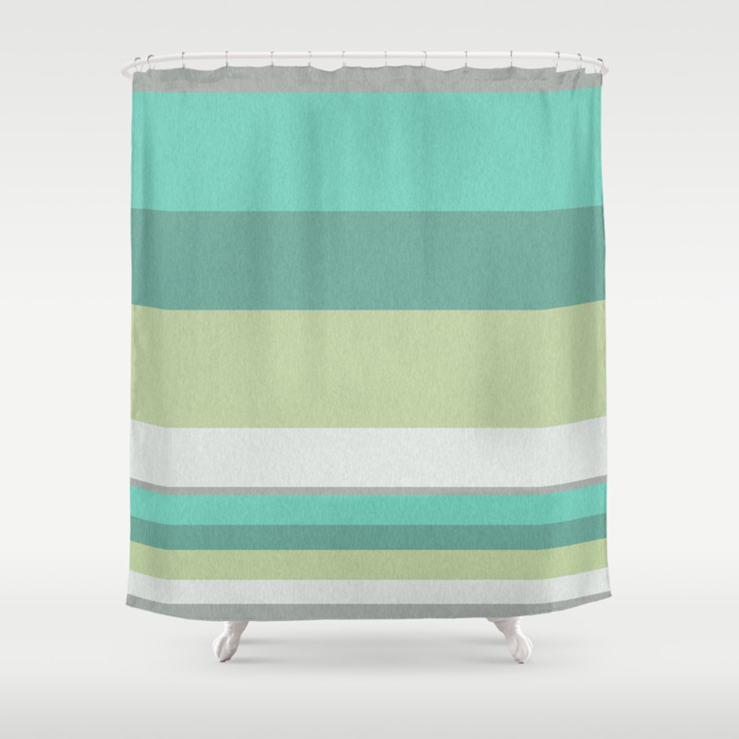 Turquoise Olive Striped Shower Curtain