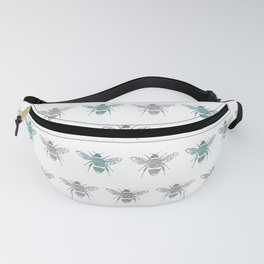 Bee pattern in grey and green Fanny Pack