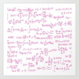 Pink Math Equations Art Print