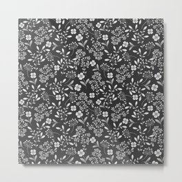Botanical modern black white trendy floral pattern Metal Print