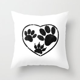Rubber Stamped Heart And Pet Paw Prints Throw Pillow