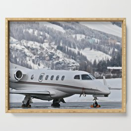 Private Jet & Snowy Mountains Serving Tray