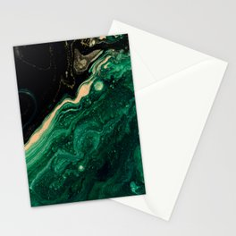Abstract Pour Painting Liquid Marble Abstract Dark Green Painting Gold Accent Agate Stone Layers Stationery Cards