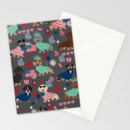 Dachshund july 4th patriotic dog breed pattern doxie dachsie lovers america Stationery Cards