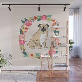 pug floral wreath dog breed pet portrait dog mom Wall Mural