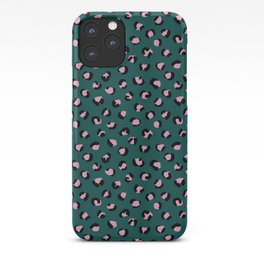 Leopard animal print trend abstract minimal spots panther cat Green Pink Black iPhone Case