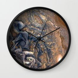Swirling Clouds of Planet Jupiter Close Up Juno Cam Wall Clock