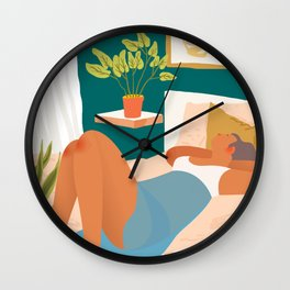 Not Today, Woman Lazy Sleepy llustration, Plant Lady At Home, Bohemian Decor Weekend Sunday Sleep In Wall Clock