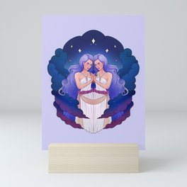 Gemini Zodiac Sign - Blue Mini Art Print
