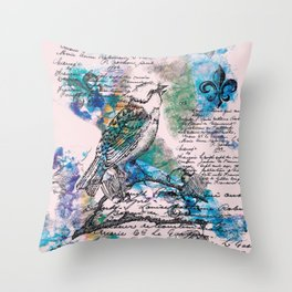 L'Oiseau Chanteur Throw Pillow