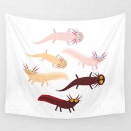 Cute orange pink brown Axolotl Cartoon character (Mexican salamander, Ambystoma mexicanum) Wall Tapestry