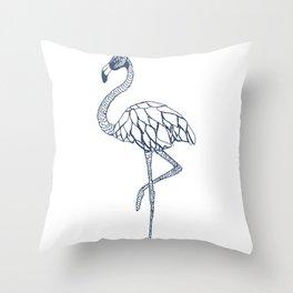 Navy Blue Flamingo Throw Pillow