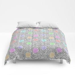 BOJANGLES, VINTAGE RETRO DOTS: MULTI-COLOR and WHITE Comforters