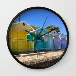 Rainbow Beach Huts Wall Clock