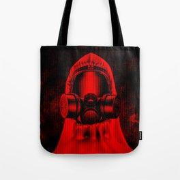Toxic environment RED / Halftone hazmat dude Tote Bag