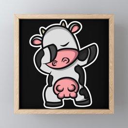 Dab Dabbing Cow Framed Mini Art Print