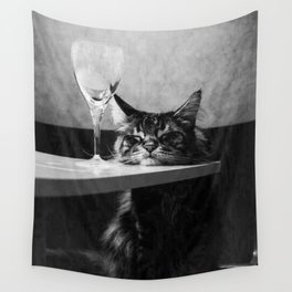 The Nightwatch Cat at the Absinthe bar black and white photograph / art photography Wall Tapestry