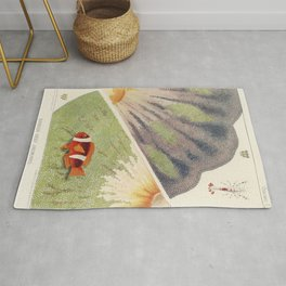Vintage Great Barrier Reef and Clown Fish Illustration Rug