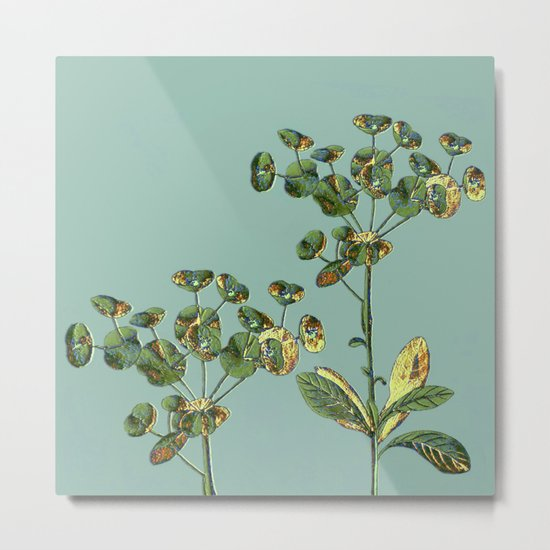 botanical with gold leaf  Metal Print