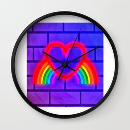 LGBT, Gay and Lesbian Quotes, Designs of Rainbows Flags and Hearts (21) Wall Clock