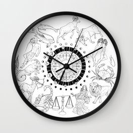 As Above, So Below - Zodiac Illustration Wall Clock