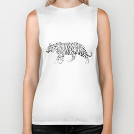 Tiger - black and white vector Biker Tank