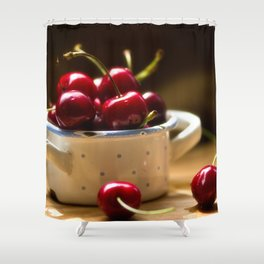 Red Cherries on the table Shower Curtain