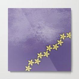 Gold flowers on ultraviolet texture Metal Print