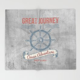 Maritime Design- Great Journey Ocean Adventure on grey abstract background #Society6 Throw Blanket