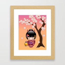 Japanese Sakura Kokeshi Doll Framed Art Print