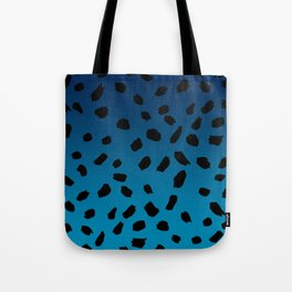 Ombre Blue Hawaii Gradient Duotone Black Spots Tote Bag