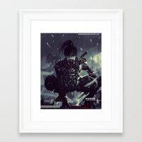 exo Framed Art Prints featuring Darkfall Hanzo Exo Suit by Benedick Bana