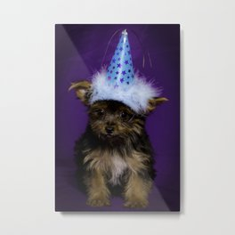 Tiny Yorkshire Terrier Puppy in a Party Hat with Purple Background Metal Print