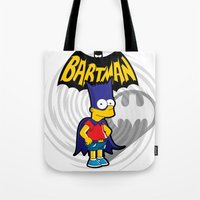 simpsons Tote Bags featuring Bartman: the simpsons superheroes by logoloco