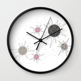 Atomic Stars Pink Wall Clock