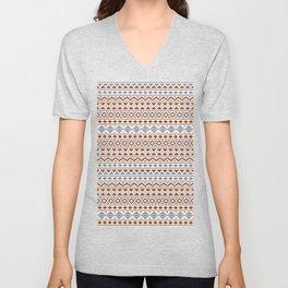 Aztec Essence Pattern II Rust Blue Cream Unisex V-Neck