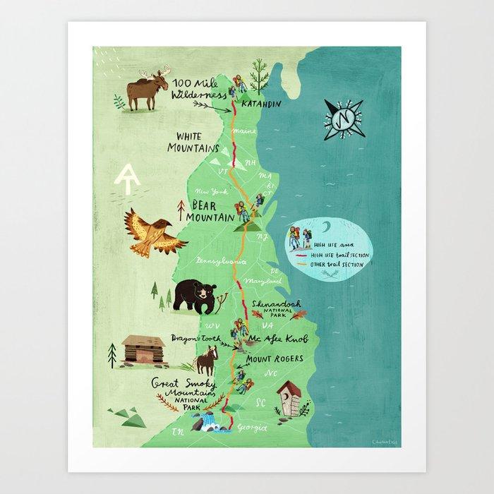 Appalachian Trail Hiking Map Art Print by chengel